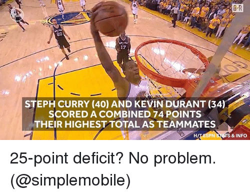 Kevin Durant, Sports, and Steph Curry: 20  17  STEPH CURRY (40) AND KEVIN DURANT (34)  SCORED A COMBINED 74 POINTS  THEIR HIGHEST TOTAL AS TEAMMATES  & INFO 25-point deficit? No problem. (@simplemobile)