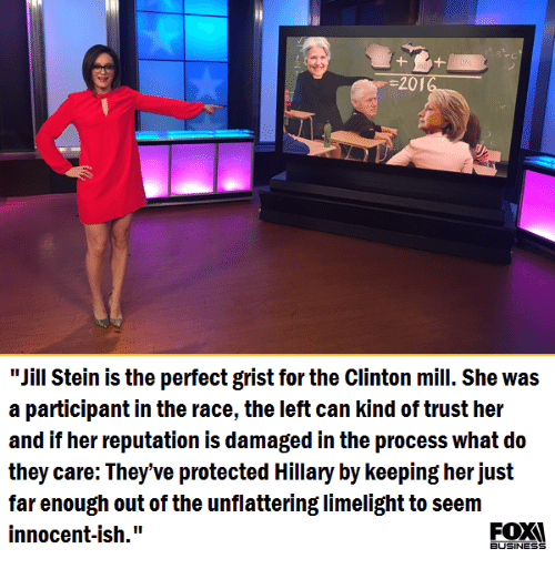 """Memes, Race, and 🤖: 20  """"Jill Stein is the perfect grist for the Clinton mill. She was  a participant in the race, the left can kind of trust her  and if her reputation is damaged in the process What do  they care: They've protected Hillary by keeping her just  far enough out of the unflattering limelight to seem  innocent-ish.""""  BUSINESS"""