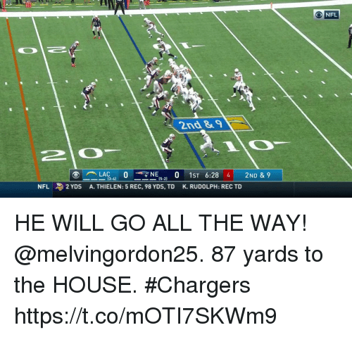 Memes, Nfl, and Chargers: 20  NFL  2nd &  (3-4)  (5-2)  NFL  2 YDS  A. THIELEN: 5 REC, 98 YDS, TD  K. RUDOLPH: REC TD HE WILL GO ALL THE WAY!  @melvingordon25.  87 yards to the HOUSE. #Chargers https://t.co/mOTI7SKWm9