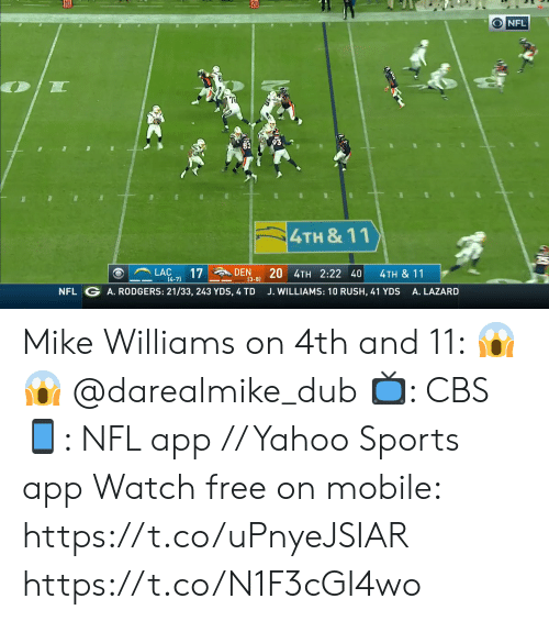 den: 20  O NFL  93  4TH &11  LAC  17  [4-7)  DEN  20 4TH 2:22 40  4TH & 11  (3-8)  NFL G A. RODGERS: 21/33, 243 YDS, 4 TD  J. WILLIAMS: 10 RUSH, 41 YDS  A. LAZARD Mike Williams on 4th and 11: 😱😱 @darealmike_dub  📺: CBS 📱: NFL app // Yahoo Sports app Watch free on mobile: https://t.co/uPnyeJSIAR https://t.co/N1F3cGI4wo