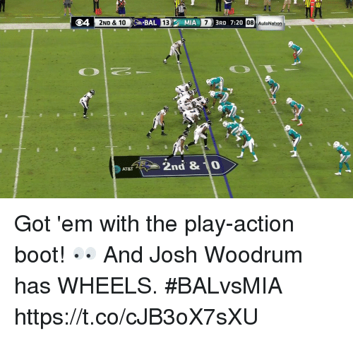 Joshing: 20  O4 2ND & 10  BAL  13  IA  3RD 7:20  08 AutoNation  災  2nd & 0  AT&T Got 'em with the play-action boot! 👀  And Josh Woodrum has WHEELS.  #BALvsMIA https://t.co/cJB3oX7sXU