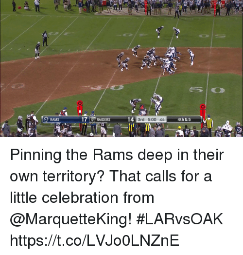 Memes, Rams, and 🤖: 20  RAMS  7RAIDERS  4th &5  3rd 5:00 :08  SD  ra Pinning the Rams deep in their own territory?  That calls for a little celebration from @MarquetteKing! #LARvsOAK https://t.co/LVJo0LNZnE