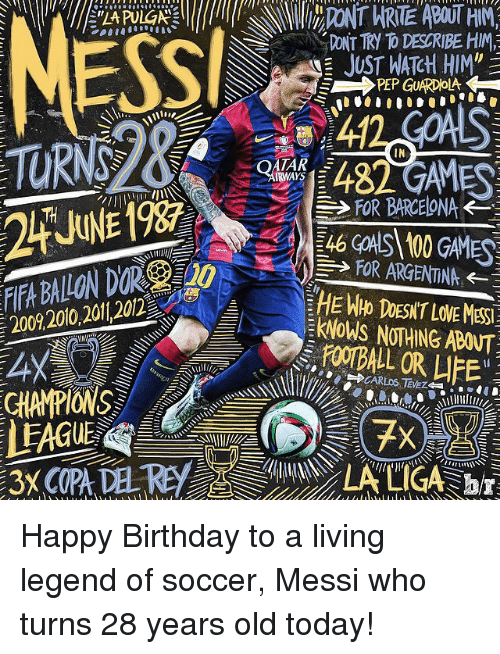"""Happiness: 200 2010 20112012  DONT TR D DESCRIBE HIN,  JUST WATCH HIM""""  FOR BARCELONA  FOR ARGENTINA  klNOWS NOTHING ABANTT Happy Birthday to a living legend of soccer, Messi who turns 28 years old today!"""
