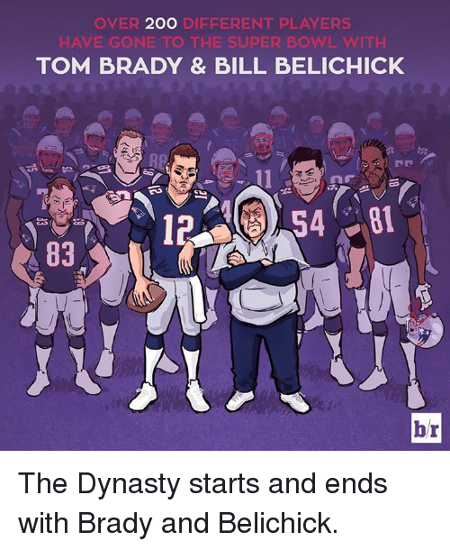 brady: 200 D  OVER 20O DIEFERENT PLAYERS  HAVE GONE TO THE SUPER BOWL WITH  TOM BRADY & BILL BELICHICK  12  br The Dynasty starts and ends with Brady and Belichick.