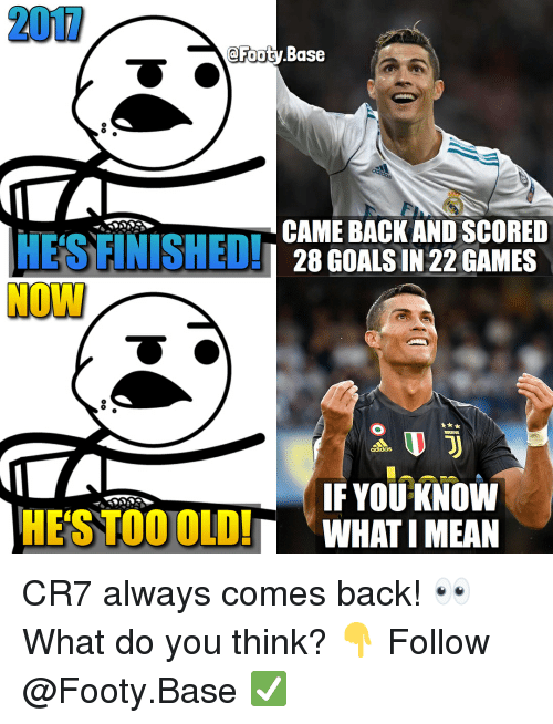 Bailey Jay, Goals, and Memes: 200  @Foot  y Base  OU  CAME BACK AND SCORED  28 GOALS IN 22 GAMES  IF YOU KNOW  HESTOOOLDWHAT IMEAN CR7 always comes back! 👀 What do you think? 👇 Follow @Footy.Base ✅