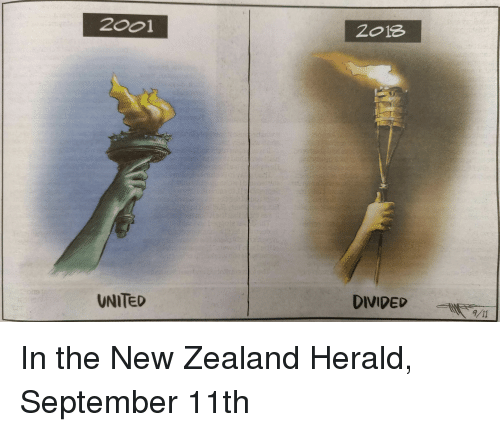 herald: 2001  2o18  UNITED  DIVIDED /11 In the New Zealand Herald, September 11th