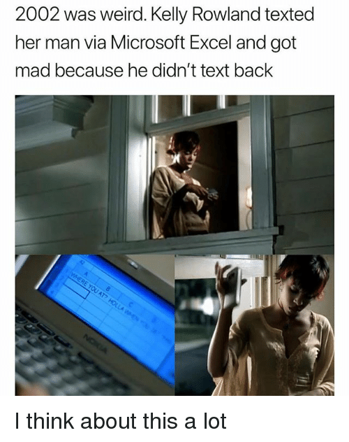 Microsoft Excel: 2002 was weird. Kelly Rowland texted  her man via Microsoft Excel and got  mad because he didn't text back I think about this a lot