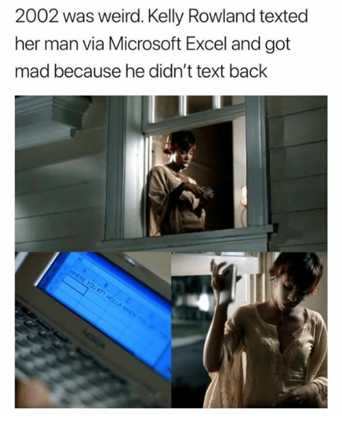 Microsoft Excel: 2002 was weird. Kelly Rowland texted  her man via Microsoft Excel and got  mad because he didn't text back