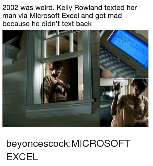Text Back: 2002 was weird. Kelly Rowland texted her  man via Microsoft Excel and got mad  because he didn't text back beyoncescock:MICROSOFT EXCEL