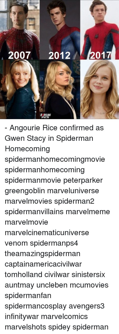 Memes, Spiderman, and 🤖: 2007 2012  017  MI RVELOUS  PICS - Angourie Rice confirmed as Gwen Stacy in Spiderman Homecoming spidermanhomecomingmovie spidermanhomecoming spidermanmovie peterparker greengoblin marveluniverse marvelmovies spiderman2 spidermanvillains marvelmeme marvelmovie marvelcinematicuniverse venom spidermanps4 theamazingspiderman captainamericacivilwar tomholland civilwar sinistersix auntmay uncleben mcumovies spidermanfan spidermancosplay avengers3 infinitywar marvelcomics marvelshots spidey spiderman