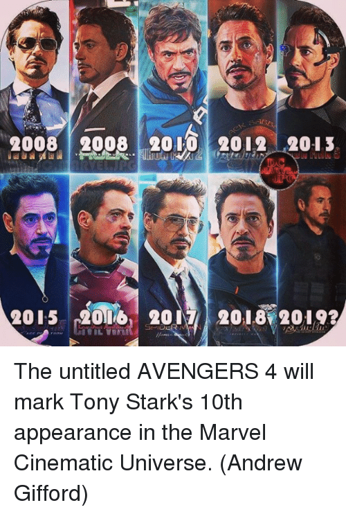 marvel cinematic universe: 20082008 2010 2o12 2013  2015 200 2017 2018 2019? The untitled AVENGERS 4 will mark Tony Stark's 10th appearance in the Marvel Cinematic Universe.  (Andrew Gifford)