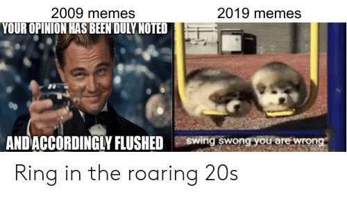 duly noted: 2009 memes  2019 memes  YOUR OPINION HAS BEEN DULY NOTED  ANDACCORDINGLY FLUSHED  Swing swong you are wrong Ring in the roaring 20s