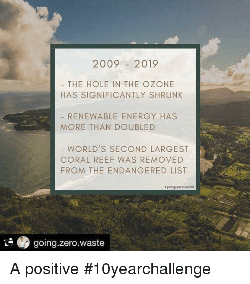 the hole: 20092019  THE HOLE IN THE OZONE  HAS SIGNIFICANTLY SHRUNK  RENEWABLE ENERGY HAS  MORE THAN DOUBLED  WORLD'S SECOND LARGEST  CORAL REEF WAS REMOVED  FROM THE ENDANGERED LIST  sgoing.zero.woste  .9 going.zero.waste A positive #10yearchallenge