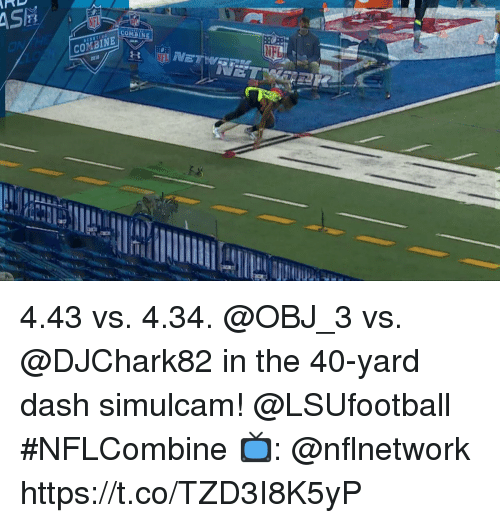 Memes, 🤖, and Dash: 201 4.43 vs. 4.34.  @OBJ_3 vs. @DJChark82 in the 40-yard dash simulcam! @LSUfootball  #NFLCombine  📺: @nflnetwork https://t.co/TZD3I8K5yP