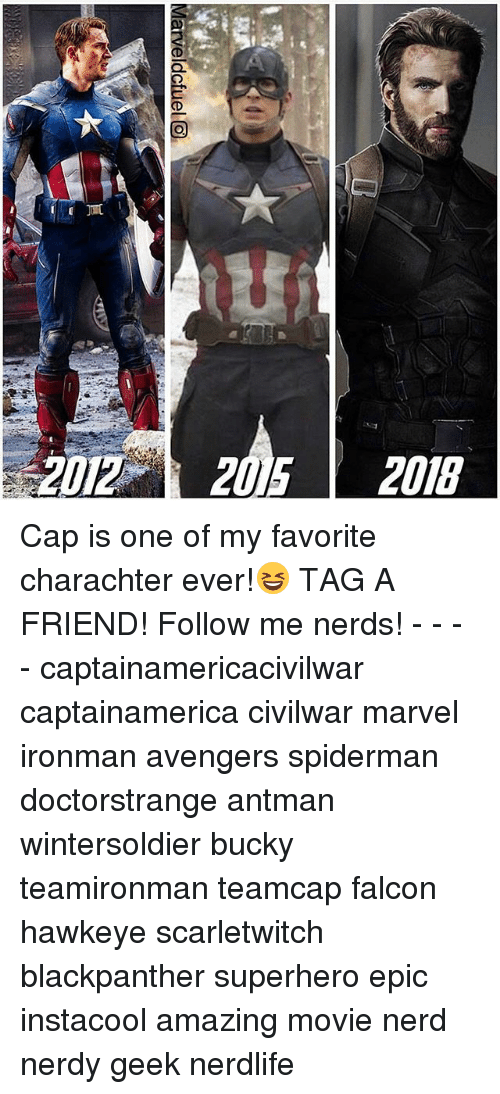 falcone: 2012 2015 2018 Cap is one of my favorite charachter ever!😆 TAG A FRIEND! Follow me nerds! - - - - captainamericacivilwar captainamerica civilwar marvel ironman avengers spiderman doctorstrange antman wintersoldier bucky teamironman teamcap falcon hawkeye scarletwitch blackpanther superhero epic instacool amazing movie nerd nerdy geek nerdlife