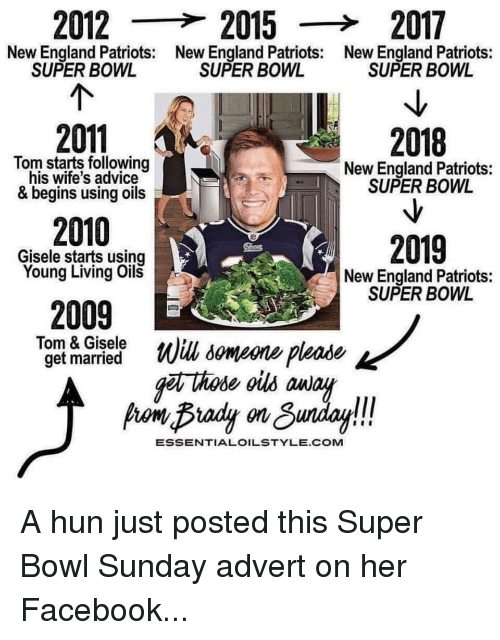 gisele: 2012  20152017  New England Patriots:  SUPER BOWL  New England Patriots:  New England Patriots:  SUPER BOW  SUPER BOWL  2011  2010  2009  2018  Tom starts following  his wife's advice  New England Patriots:  SUPER BOWL  & begins using oils  2019  Gisele starts using  Young Living Oil  New England Patriots:  SUPER BOWL  Tom & Gisele  Will, someone please  g hode ous anay  ESSENTIALOILSTYLE.COM