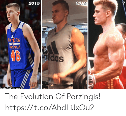 Evolution Of: 2015  2019  dds  EW YORK  ASKETBALL  46  Sppm  Dayid Dow/NBAE/Getty Images The Evolution Of Porzingis! https://t.co/AhdLiJxOu2