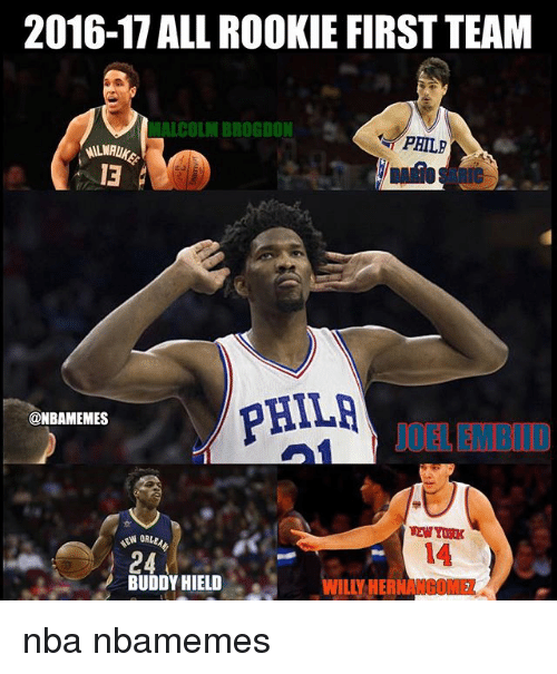 Basketball, Nba, and Sports: 2016-17 ALL ROOKIE FIRST TEAM  LCOLM BROGDON  PHILD  ILU  13  PHILA  @NBAMEMES  14  NGOME  24  BUDDY HIELD  WILLY HERN nba nbamemes