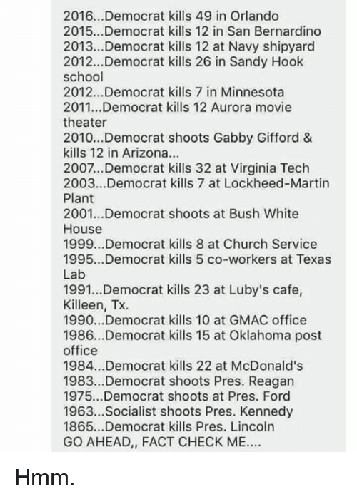 Fact Check: 2016.. .Democrat kills 49 in Orlando  2015...Democrat kills 12 in San Bernardino  2013...Democrat kills 12 at Navy shipyard  2012...Democrat kills 26 in Sandy Hook  school  2012...Democrat kills 7 in Minnesota  2011...Democrat kills 12 Aurora movie  theater  2010...Democrat shoots Gabby Gifford &  kills 12 in Arizona.  2007...Democrat kills 32 at Virginia Tech  2003...Democrat kills 7 at Lockheed-Martin  Plant  2001...Democrat shoots at Bush White  House  1999...Democrat kills 8 at Church Service  1995...Democrat kills 5 co-workers at Texas  Lab  1991...Democrat kills 23 at Luby's cafe,  Killeen, Tx.  1990...Democrat kills 10 at GMAC office  1986...Democrat kills 15 at Oklahoma post  office  1984...Democrat kills 22 at McDonald's  1983.Democrat shoots Pres. Reagan  1975...Democrat shoots at Pres. Ford  1963...Socialist shoots Pres. Kennedy  1865...Democrat kills Pres. Lincoln  GO AHEAD, FACT CHECK ME Hmm.