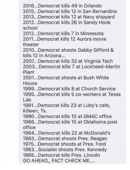 Fact Check: 2016.. .Democrat kills 49 in Orlando  2015...Democrat kills 12 in San Bernardino  2013...Democrat kills 12 at Navy shipyard  2012...Democrat kills 26 in Sandy Hook  school  2012...Democrat kills 7 in Minnesota  2011...Democrat kills 12 Aurora movie  theater  2010..Democrat shoots Gabby Gifford &  kills 12 in Arizona.  2007...Democrat kills 32 at Virginia Tech  2003...Democrat kills 7 at Lockheed-Martin  Plant  2001...Democrat shoots at Bush White  House  1999...Democrat kills 8 at Church Service  1995...Democrat kills 5 co-workers at Texas  Lab  1991...Democrat kills 23 at Luby's cafe,  Killeen, Tx.  1990...Democrat kills 10 at GMAC office  1986...Democrat kills 15 at Oklahoma post  office  1984...Democrat kills 22 at McDonald's  1983..Democrat shoots Pres. Reagan  1975...Democrat shoots at Pres. Ford  1963...Socialist shoots Pres. Kennedy  1865...Democrat kills Pres. Lincoln  GO AHEAD, FACT CHECK ME.
