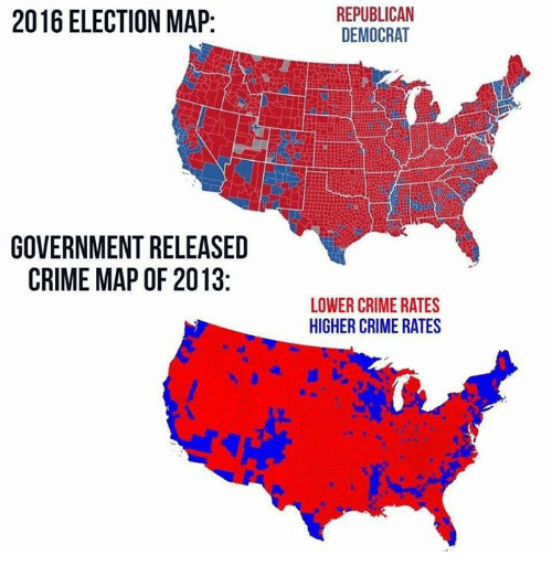 Crime Memes And Maps 2016 Election Map Republican Democrat Government Released Crime Map