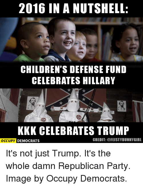 Kkk, Memes, and Republican Party: 2016 IN A NUTSHELL:  CHILDREN'S DEFENSE FUND  CELEBRATES HILLARY  KKK CELEBRATES TRUMP  OCCUPY DEMOCRATS  CREDIT: @FEISTYBUNNY GIRL It's not just Trump.  It's the whole damn Republican Party.    Image by Occupy Democrats.