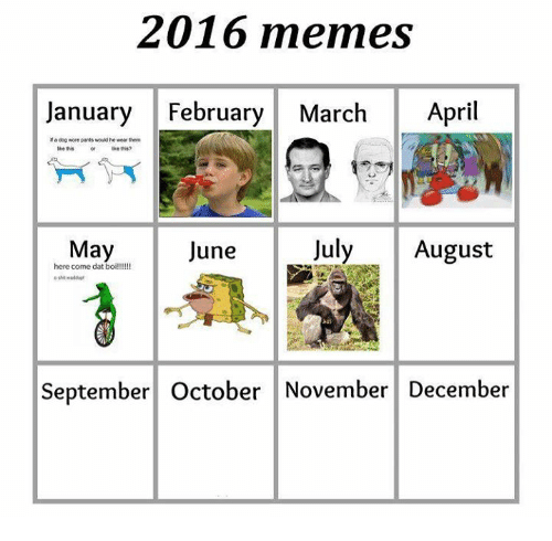 Dogs, Meme, and Memes: 2016 memes  January February March April  Ma dog wore pants would hewear them  this  July  August  May  June  here come dat  boi  September October November December