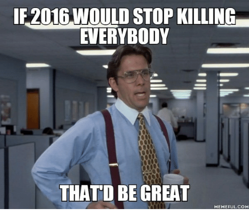 Thatd Be Great Meme: 2016 WOULD STOP KILLING  EVERYBODY  THATD BE GREAT  MEMEFUL.COM