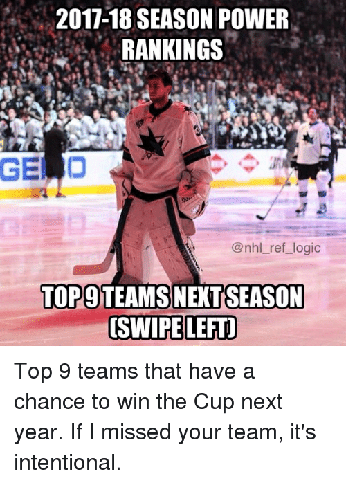 Logic, Memes, and National Hockey League (NHL): 2017-18 SEASON POWER  RANKINGS  GELD  @nhl_ref_logic  SEASON  TOP9 TEAMS NEXT  SWIPE LEFT Top 9 teams that have a chance to win the Cup next year. If I missed your team, it's intentional.