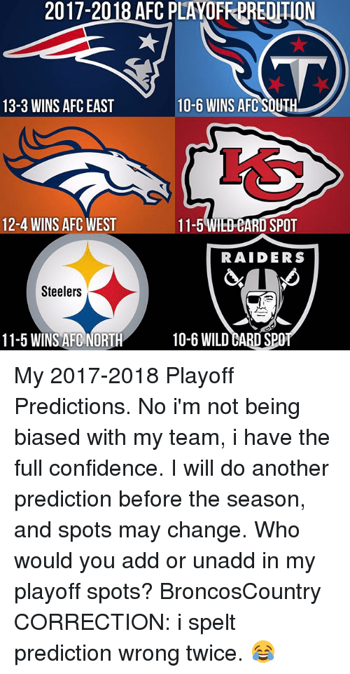 Afc South: 2017-2018 AFC PLAOFREREOTION  10-6 WINS AFC SOUTH  13-3 WINS AFC EAST  12-4 WINS AFC WEST  11-5 WIEDEARD SPOT  RAIDERS  Steelers  11-5 WINS AFC NORTH  10-6 WILD eABD SPO My 2017-2018 Playoff Predictions. No i'm not being biased with my team, i have the full confidence. I will do another prediction before the season, and spots may change. Who would you add or unadd in my playoff spots? BroncosCountry CORRECTION: i spelt prediction wrong twice. 😂