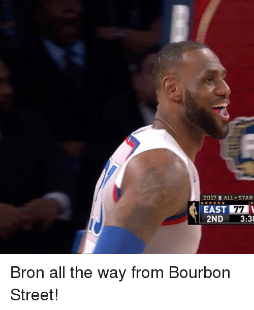 All Star, Sports, and Star: 2017 ALL STAR  EAST  77  2ND  3:38 Bron all the way from Bourbon Street!
