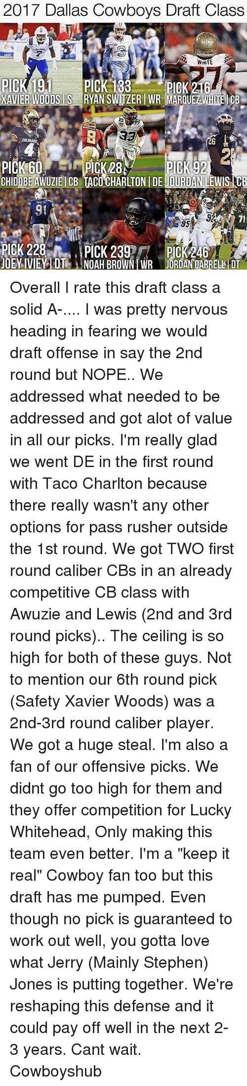 """Real Cowboy: 2017 Dallas Cowboys Draft Class  PICK 191  XAVIER WODIS IS RYAN SWITZER WR MARQUEZIEI CB  COLORA  PICK 60.  PICK 92  IYILIY  PICK 228  PICK 239  PICK 246  JOEY IVIEY DT1S NOAH BROWN WR JORDAN OARRELI DT Overall I rate this draft class a solid A-.... I was pretty nervous heading in fearing we would draft offense in say the 2nd round but NOPE.. We addressed what needed to be addressed and got alot of value in all our picks. I'm really glad we went DE in the first round with Taco Charlton because there really wasn't any other options for pass rusher outside the 1st round. We got TWO first round caliber CBs in an already competitive CB class with Awuzie and Lewis (2nd and 3rd round picks).. The ceiling is so high for both of these guys. Not to mention our 6th round pick (Safety Xavier Woods) was a 2nd-3rd round caliber player. We got a huge steal. I'm also a fan of our offensive picks. We didnt go too high for them and they offer competition for Lucky Whitehead, Only making this team even better. I'm a """"keep it real"""" Cowboy fan too but this draft has me pumped. Even though no pick is guaranteed to work out well, you gotta love what Jerry (Mainly Stephen) Jones is putting together. We're reshaping this defense and it could pay off well in the next 2-3 years. Cant wait. Cowboyshub"""
