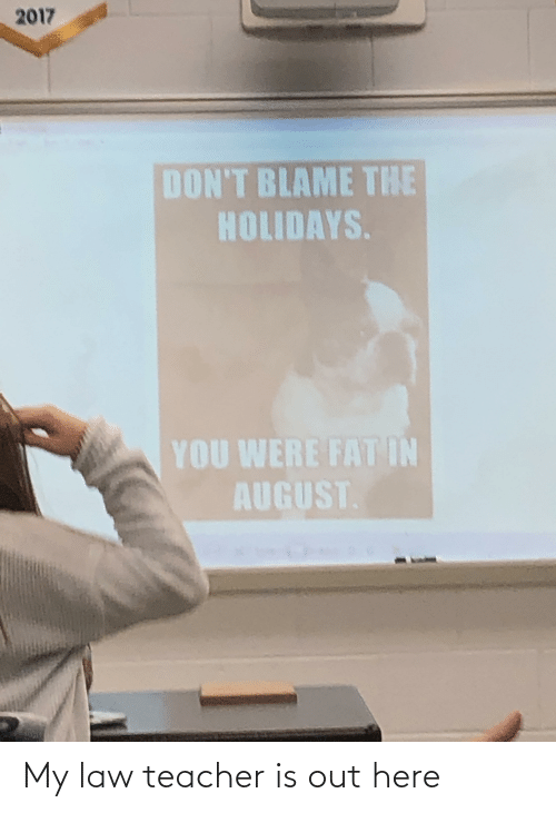 Dont Blame The Holidays You Were Fat In August: 2017  DON'T BLAME THE  HOLIDAYS.  YOU WERE FAT IN  AUGUST. My law teacher is out here
