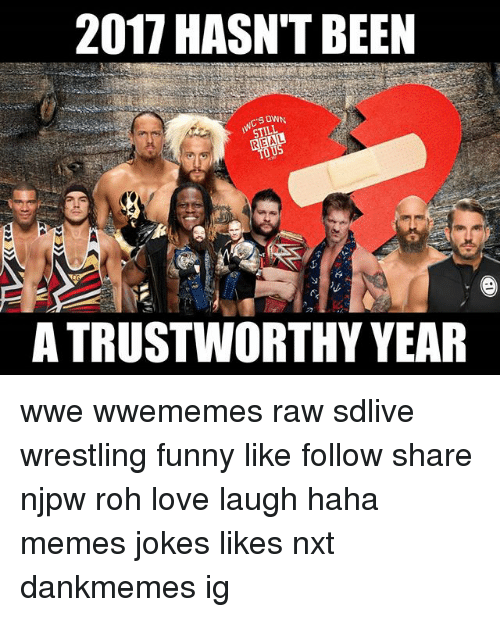 rohs: 2017 HASN'T BEEN  S OWN  A TRUSTWORTHY YEAR wwe wwememes raw sdlive wrestling funny like follow share njpw roh love laugh haha memes jokes likes nxt dankmemes ig