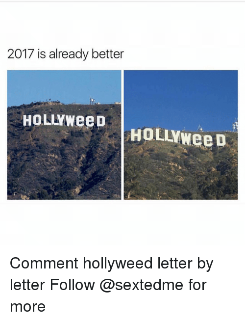 Memes, 🤖, and Letters: 2017 is already better  HOLANNeeD  HOLANweeD Comment hollyweed letter by letter Follow @sextedme for more