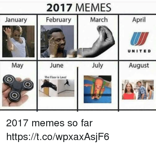 floored: 2017 MEMES  February  January  March  April  UNITE D  May  June  July  August  The Floor is Lava 2017 memes so far https://t.co/wpxaxAsjF6