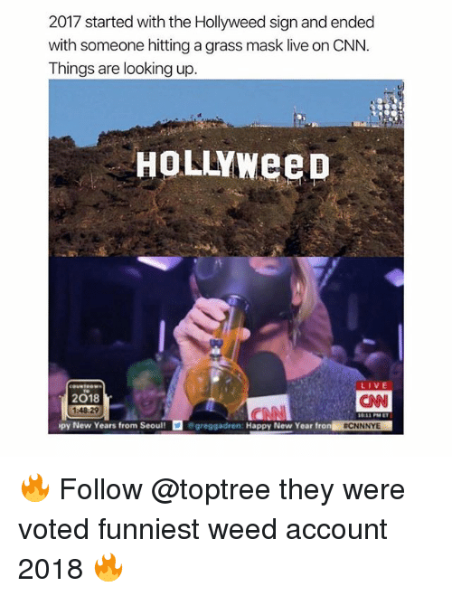 cnn.com, Memes, and New Year's: 2017 started with the Hollyweed sign and ended  with someone hitting a grass mask live on CNN  Things are looking up  HoLLYweeD  2018  1:48:29  CAN  py New Years from Seoul!  greggadren: Happy New Year fron C  NNNY 🔥 Follow @toptree they were voted funniest weed account 2018 🔥