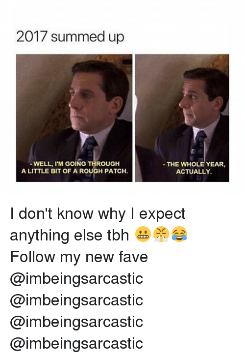 Memes, Tbh, and Fave: 2017 summed up  WELL, I'M GOING THROUGH  A LITTLE BIT OF A ROUGH PATCH.  THE WHOLE YEAR,  ACTUALLY I don't know why I expect anything else tbh 😬😤😂 Follow my new fave @imbeingsarcastic @imbeingsarcastic @imbeingsarcastic @imbeingsarcastic