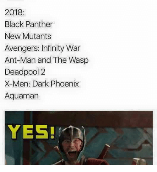 the wasp: 2018  Black Panther  New Mutants  Avengers: Infinity War  Ant-Man and The Wasp  Deadpool 2  X-Men: Dark Phoenix  Aquaman  YES!