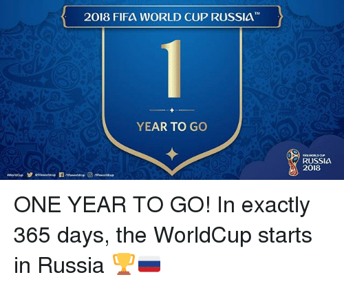 Fifa, Memes, and World Cup: 2018 FIFA WORLD CUP RUSSIA  YEAR TO GO  RUSSIA  2018 ONE YEAR TO GO! In exactly 365 days, the WorldCup starts in Russia 🏆🇷🇺