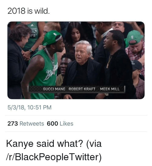 Blackpeopletwitter, Gucci, and Gucci Mane: 2018 is wild.  GUCCI MANE  ROBERT KRAFT  MEEK MILL  5/3/18, 10:51 PM  273 Retweets 600 Likes <p>Kanye said what? (via /r/BlackPeopleTwitter)</p>
