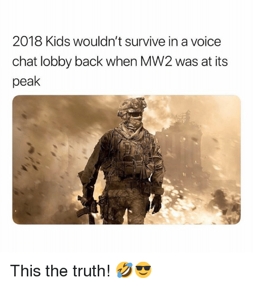 Chat, Kids, and Voice: 2018 Kids wouldn't survive in a voice  chat lobby back when MW2 was at its  peak This the truth! 🤣😎