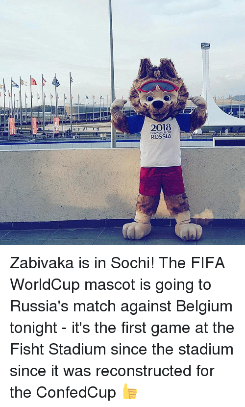 Belgium, Fifa, and Memes: 2018  RUSSIa Zabivaka is in Sochi! The FIFA WorldCup mascot is going to Russia's match against Belgium tonight - it's the first game at the Fisht Stadium since the stadium since it was reconstructed for the ConfedCup 👍