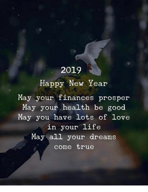 prosper: 2019  Happy New Year  May your finances prosper  May your health be good  May you have lots of love  in your life  May all your dreams  come true