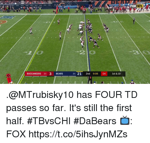 Memes, Nfl, and Bears: 21 132 1933 40 141 14  11  FOX  NFL  2l0  BUCCANEERS 21 3 BEARS  21 21 2nd 9:06 04 1st & 10 .@MTrubisky10 has FOUR TD passes so far.  It's still the first half. #TBvsCHI #DaBears  📺: FOX https://t.co/5ihsJynMZs