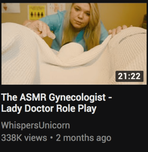role play: 21:22  The ASMR Gynecologist -  Lady Doctor Role Play  WhispersUnicorn  338K views 2 months ago