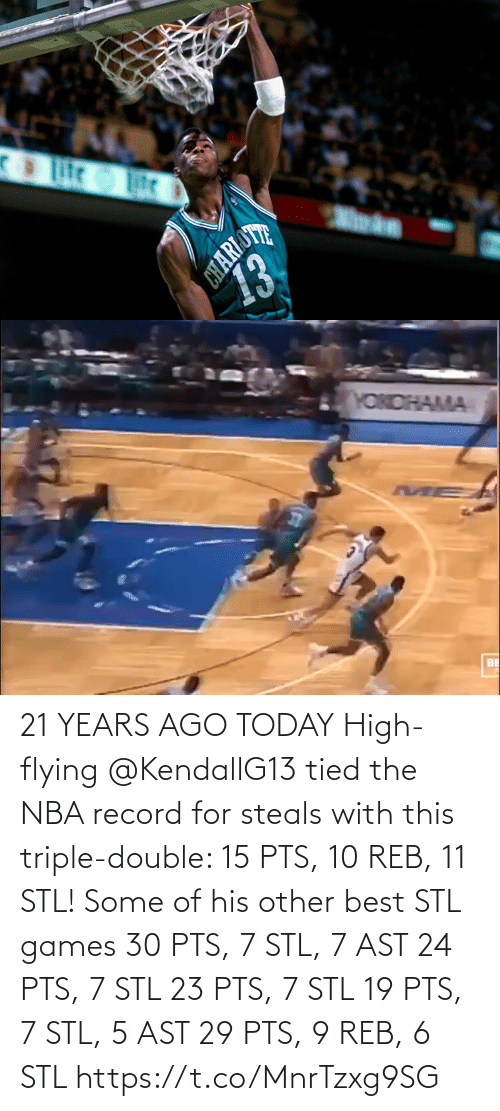 triple double: 21 YEARS AGO TODAY High-flying @KendallG13 tied the NBA record for steals with this triple-double: 15 PTS, 10 REB, 11 STL!   Some of his other best STL games 30 PTS, 7 STL, 7 AST 24 PTS, 7 STL 23 PTS, 7 STL 19 PTS, 7 STL, 5 AST 29 PTS, 9 REB, 6 STL https://t.co/MnrTzxg9SG
