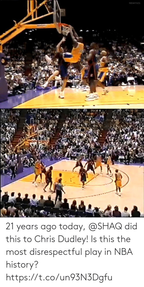 NBA: 21 years ago today, @SHAQ did this to Chris Dudley!  Is this the most disrespectful play in NBA history? https://t.co/un93N3Dgfu
