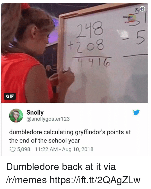 Calculating: 218  + 2 08  441  GIF  Snolly  @snollygoster123  dumbledore calculating gryffindor's points at  the end of the school year  O5,098 11:22 AM - Aug 10, 2018 Dumbledore back at it via /r/memes https://ift.tt/2QAgZLw