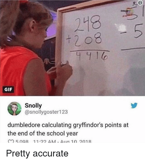 End Of The School Year: 218  t 2 08  5  C.  GIF  Snolly  @snollygoster123  dumbledore calculating gryffindor's points at  the end of the school year Pretty accurate
